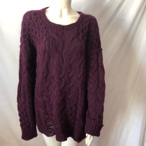 Free People over L distressed soft Alpaca sweater